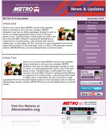 Picture of METRO Enewsletter Sample