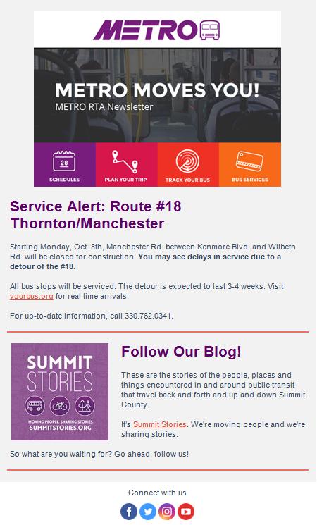 METRO RTA - Enewsletter Signup, Akron METRO News Updates